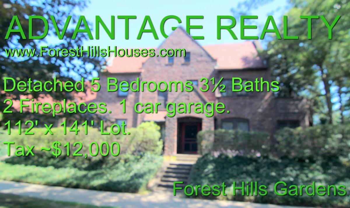Detached brick tudor 6 bedrooms 3 baths large house lot 114 39 x 121 39 advantage forest hills for Forest hills gardens real estate