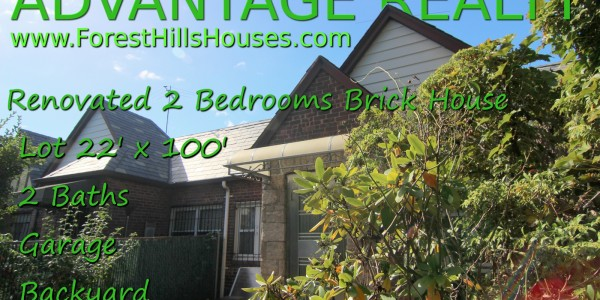 forest hills 1 family brick house. 2 bedrooms 2 baths for sale.